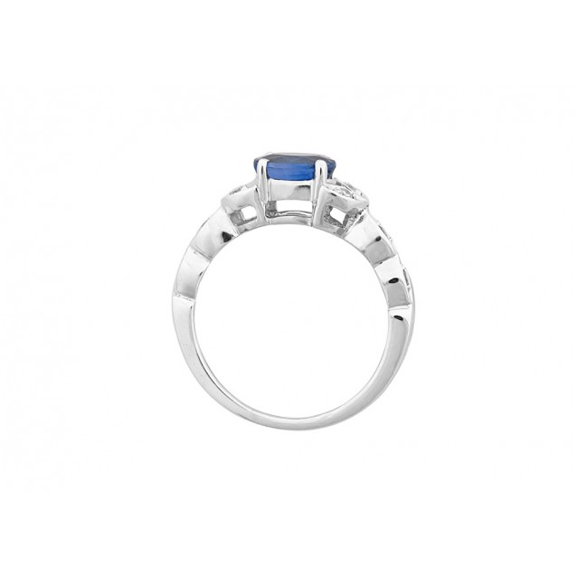 OVAL SHAPE BLUE SAPPHIRE AND DIAMOND RING MADE IN 14K WHITE GOLD (1.36ct Bs)