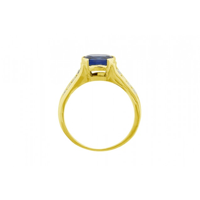 Blue Sapphire And Diamond  Ring Set in a 14k Yellow Gold (0.95ct Bs)