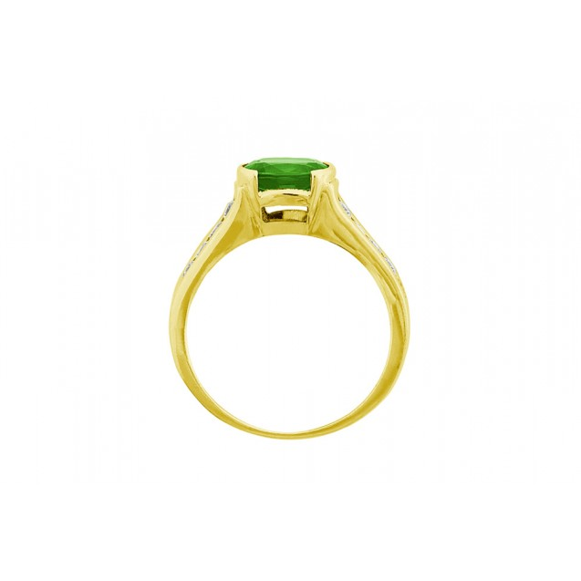 Emerald And Diamond Ring made in 14k Yellow Gold (0.95ct Em)