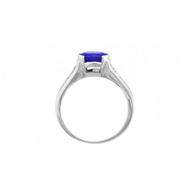 Tanzanite And Diamond Ring made in 14k White Gold (0.95ct Tz)