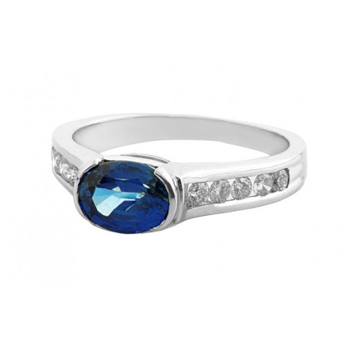 Blue Sapphire And Diamond  Ring Set in a 14k White Gold (0.95ct Bs)