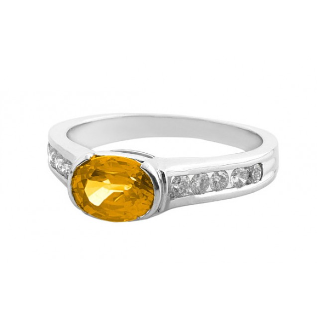 Citrine And Diamond Ring made in 14k White Gold (0.95ct Citrine)