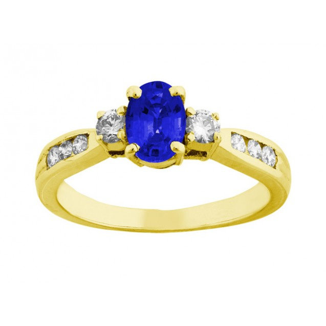 OVALSHAPE BLUE SAPPHIRE AND DIAMOND RING ( 0.6ct Bs)