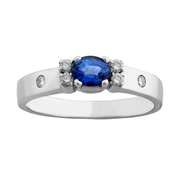 The Pati Blue Sapphire And Diamond Ring Set In 14k White Gold ( 0.44ct BS)