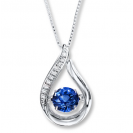 Blue Sapphire And Diamond Pendant made in 14k White Gold (0.8ct Bs)