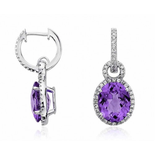 Amethyst And Diamond Earring set in 14k White Gold (1ct Amethyst)