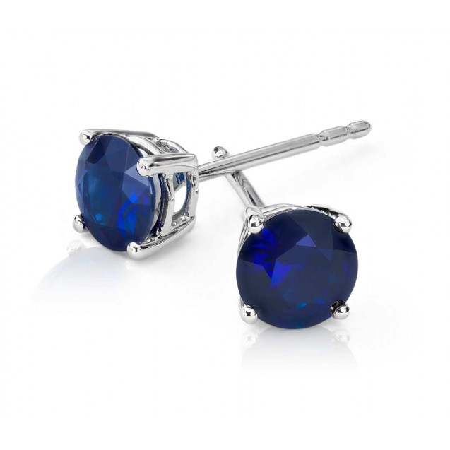 Blue Sapphire Earring set in 14k White Gold (1.5 cts Bs)