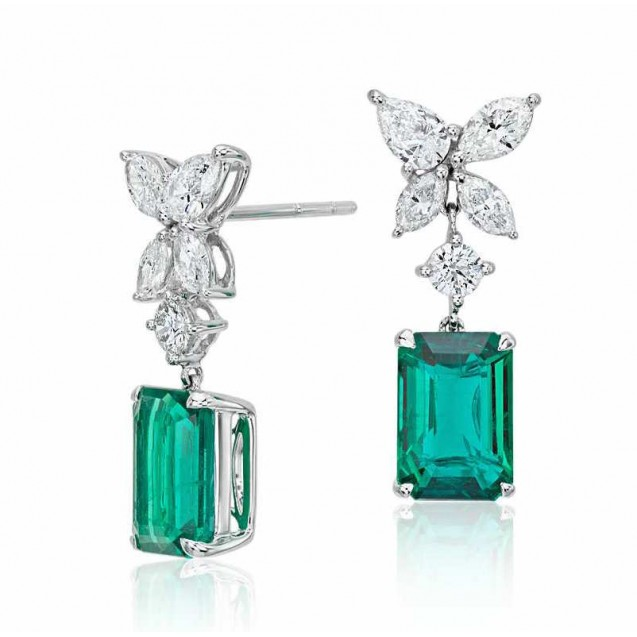 Emerald And Diamond Earring set in 18k White Gold (2cts Em)