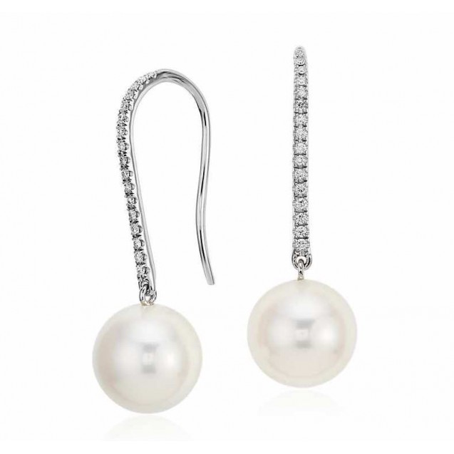 Fresh Water Pearl And Diamond Earring made in 14k White Gold ( 0.2 ct)