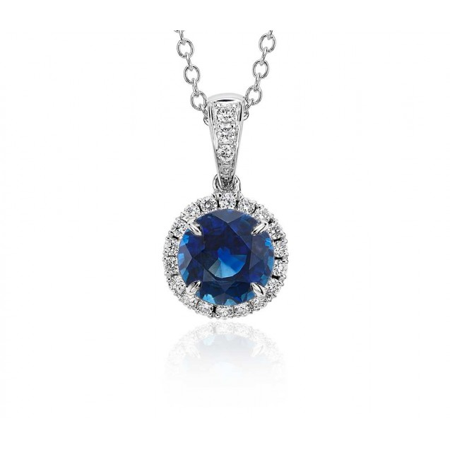 Blue Sapphire And Diamond Pendant Set in 14k White Gold(1ct Bs )