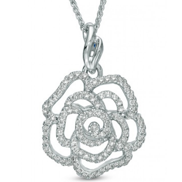 Diamond Pendant Set in 14k White Gold (0.6ct )