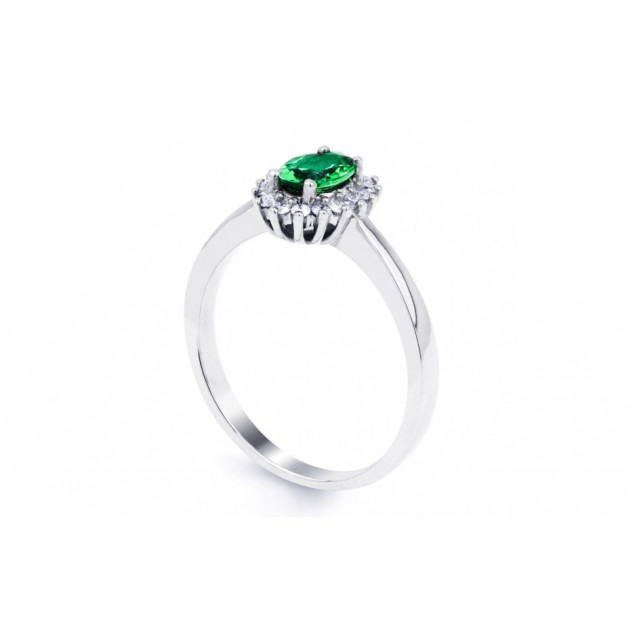 Emerald And Diamond Ring made in 14ct White Gold ( 0.3ct Em)