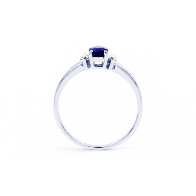 Blue Sapphire And Diamond Ring Set in 14K White Gold ( 0.55ct Bs)