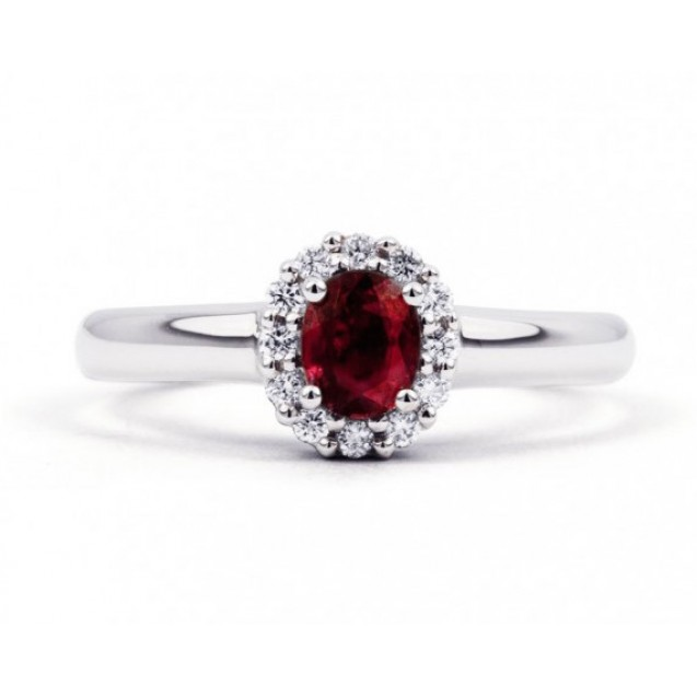 Burmese Ruby And Diamond Ring made in 14ct White Gold (0.35ct Ruby)
