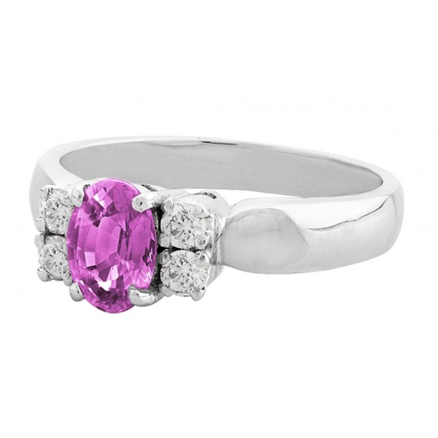 PINK SAPPHIRE OVAL SHAPE  AND DIAMOND RING(1.04 ct PS)
